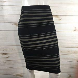 Banana Republic Olive Striped Knit Bodycon Skirt